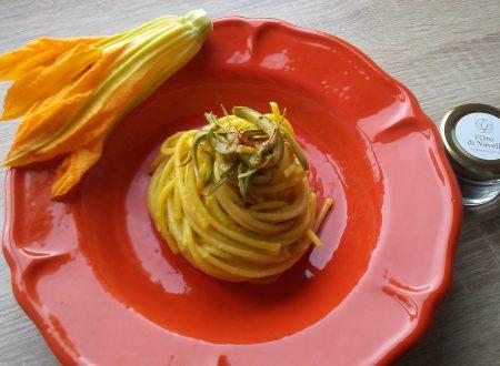 Spaghettone con pesto di fiori di zucca pesto di zucchine e @zafferano_oro_di_navelli
